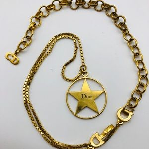 DIOR gold tone thick chain necklace star round